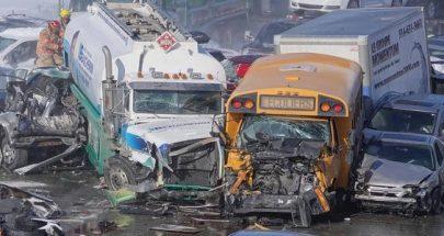 حادث سير مروع في كندا والضحايا بالعشرات... تصادم أكثر من 200 مركبة! image
