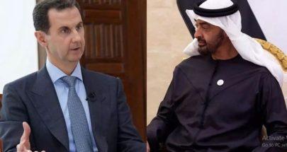 اتصال هاتفي بين ولي عهد ابو ظبي والرئيس السوري image