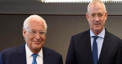 وزير الدفاع الإسرائيلي والسفير الأميركي يبحثان خطة ضم أراض جديدة في الضفة image