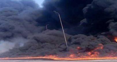 بالفيديو... حريق كبير في مصر بعد كسر أنبوب مازوت image