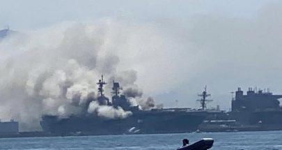 إصابة 12 شخصا في حريق على متن سفينة حربية أميركية في كاليفورنيا image