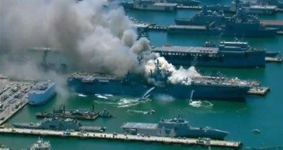 بالفيديو: حريق كبير بسفينة تابعة للبحرية الأميركية image