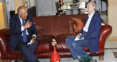 جنبلاط إلتقى وزير خارجية مصر مشيداً بجهودها في دعم لبنان image