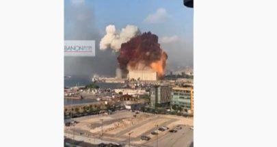 لحظة وقوع الانفجار العنيف في مرفأ بيروت image