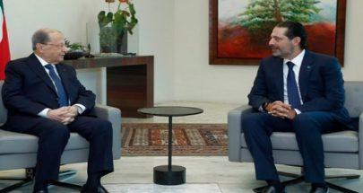 الحريري سيعرض على الرئيس عون التشكيلة الاولية للحكومة اليوم image