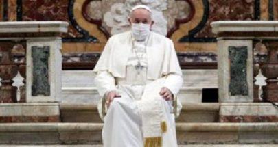 البابا فرنسيس يضع كمامة لأول مرة خلال حضوره قداسا في أراشيلي image