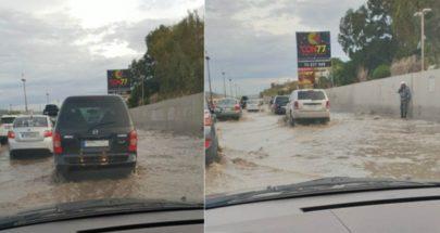 تراكم المياه في نفق المطار وفي شوارع حي السلم image