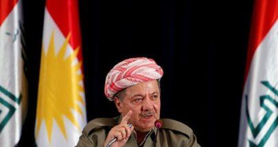 بارزاني: نرغب في التوصل إلى حل دستوري مع الحكومة الاتحادية في بغداد image