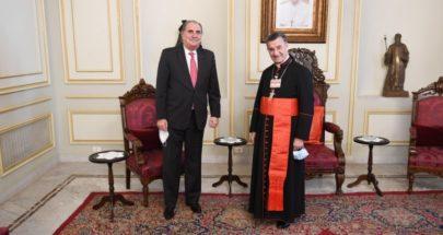 البطريرك الراعي استقبل جريصاتي والسفير المصري image