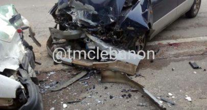 3 جرحى نتيجة تصادم بين سيارتين على طريق عام عدشيت - القصيبة image