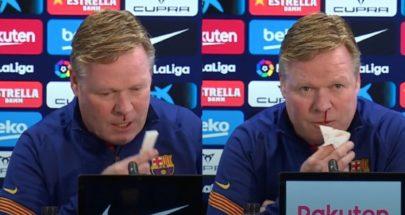 مدرب برشلونة يتعرض لنزيف من الأنف خلال مؤتمر صحفي image