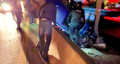 جريحان بإنحراف سيارة على المسلك الشرقي لأوتوستراد طبرجا image