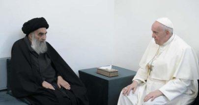 الفاتيكان: البابا بحث مع السيستاني الحوار والتعاون بين الأديان من أجل خير العراق والمنطقة image