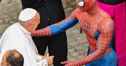 بالفيديو: بابا الفاتيكان يلتقي سبايدرمان.. والسبب غريب image
